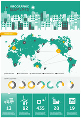 city infographics - icons, charts and design elements