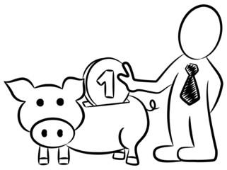 Geschäftsmann füttert sein Sparschwein