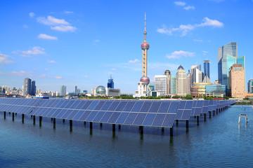 Shanghai Bund skyline landmark at Ecological energy Solar panel
