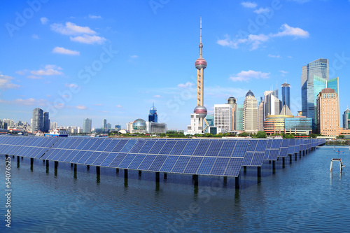 Shanghai Bund skyline landmark at Ecological energy Solar panel