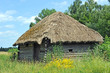 Ancient traditional ukrainian rural wooden barn