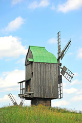 Antique ramshackle wooden windmill, Pirogovo, Kiev, Ukraine