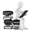 3d man with tablet and pile of suitcases