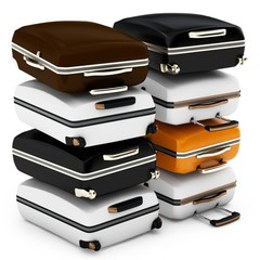 3d pile of suitcases