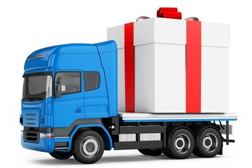3d generic truck with gift box delivery