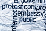 Protest embassy text on  crinkled paper poster