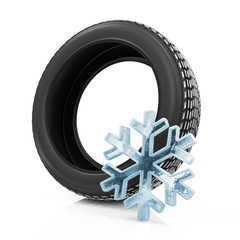 Winter Car Tire isolated on white background