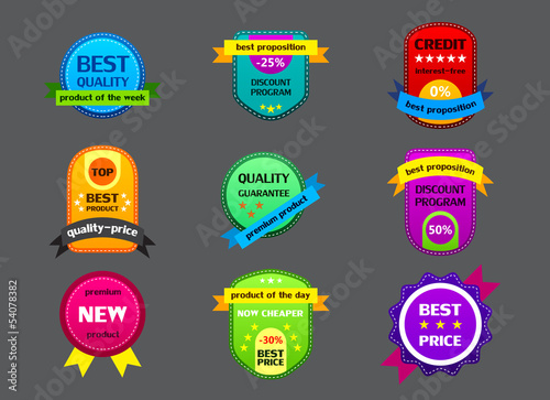 collection of color labels on gray background