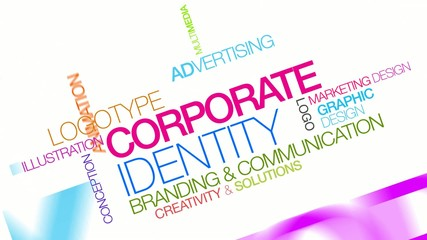 Corporate identity branding word tag cloud animation