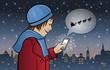 Mädchen Maria bekommt einen Weihnachtsgruß auf ihr Handy