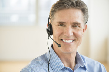 Male Customer Service Representative Wearing Headset