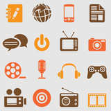Multimedia icons set.Vector