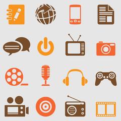 Multimedia icons set.Vector