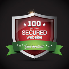 Secured website - chrome metallic secured website shield