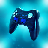 Square photo of joystick on blue background