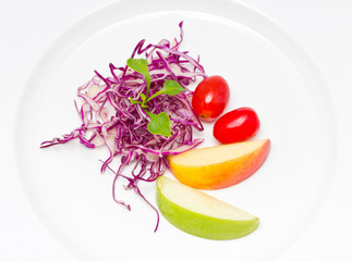 Mix fresh vegetables in plate.