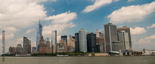 New York. Panoramic view of Lower Manhattan skyline from Governo
