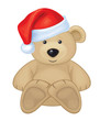 Vector of cute brown bear in red Santa's hat isolated.