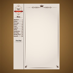 Restaurant menu page template