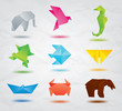 Set of origami animals symbols