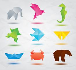 Set of origami animals symbols
