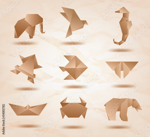 Set of origami animals symbols recycled paper