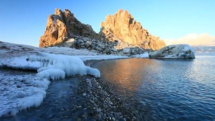 Baikal in autumn. Olkhon Island. Shamanka Rock in the morning