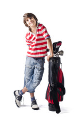 Child standing on white with golf bag