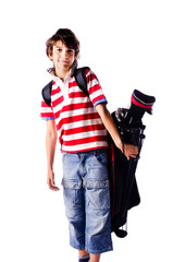 Young boy with golf bag, isolated