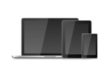 Laptop Smartphone Mobile and Tablet PC with Blank Screen