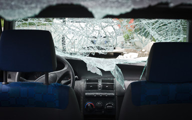 Car with smashed windshield