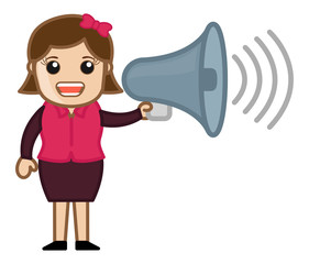 Girl Announcing - Vector Illustration