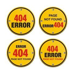 error 404 circle signs