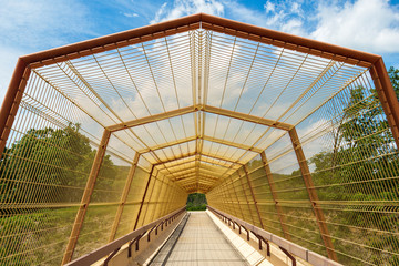 Overpass bridge covered with mesh