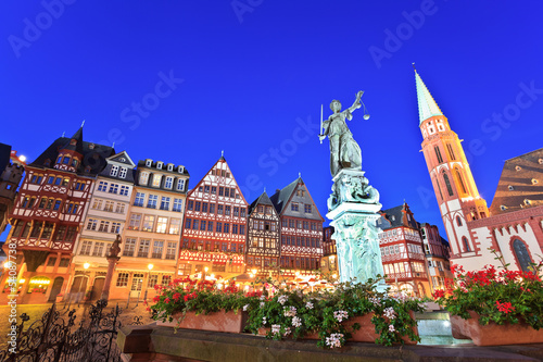 Lady justice on the Roemer the old town of Frankfurt