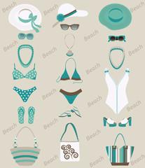 Beach sets for women. Vector