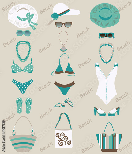 Beach sets for women. Vector