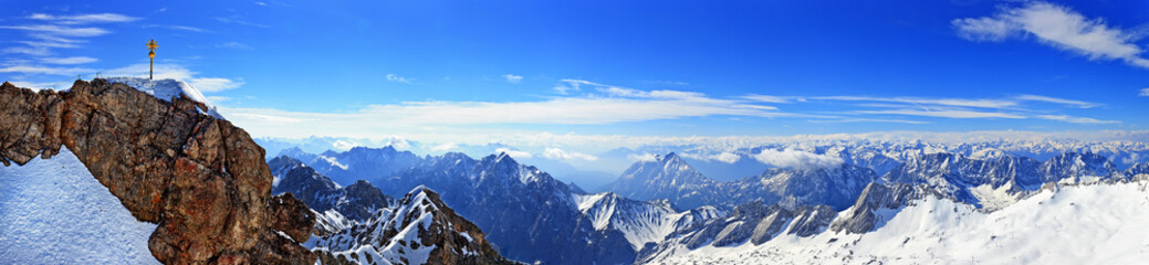 Panorama view of alpine alps from Zugspitze top of Germany
