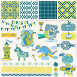 Scrapbook Design Elements - Little Prince Boy Set - in vector