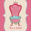 Baby Girl Shower and Arrival Card - with place for your text