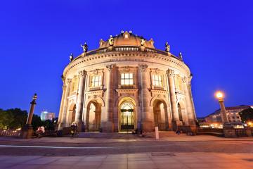 night view of Bode Museum on museum island, Berlin