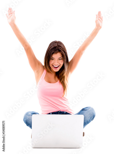 Happy woman with a laptop