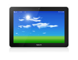 Tablet PC. Vector. Horizontal. Blue sky background