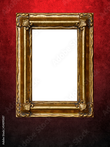 Picture frame on red grungy wall