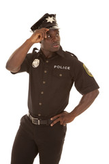 Police officer look back