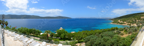 Panorama of the beach at luxury hotel, Bodrum, Turkey