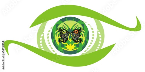 Green eye symbol with parrots sitting inside