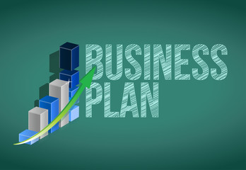 Business Plan and graph on a chalkboard.