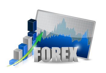 Bar graphs, diagrams, financial figures. Forex.