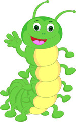 cute caterpillar waving cartoon